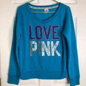 PINK Victoria's Secret Blue V-Neck Sweatshirt MED